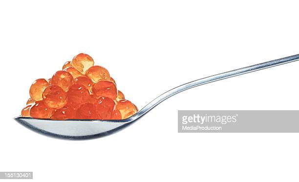 Salmon eggs on spoon