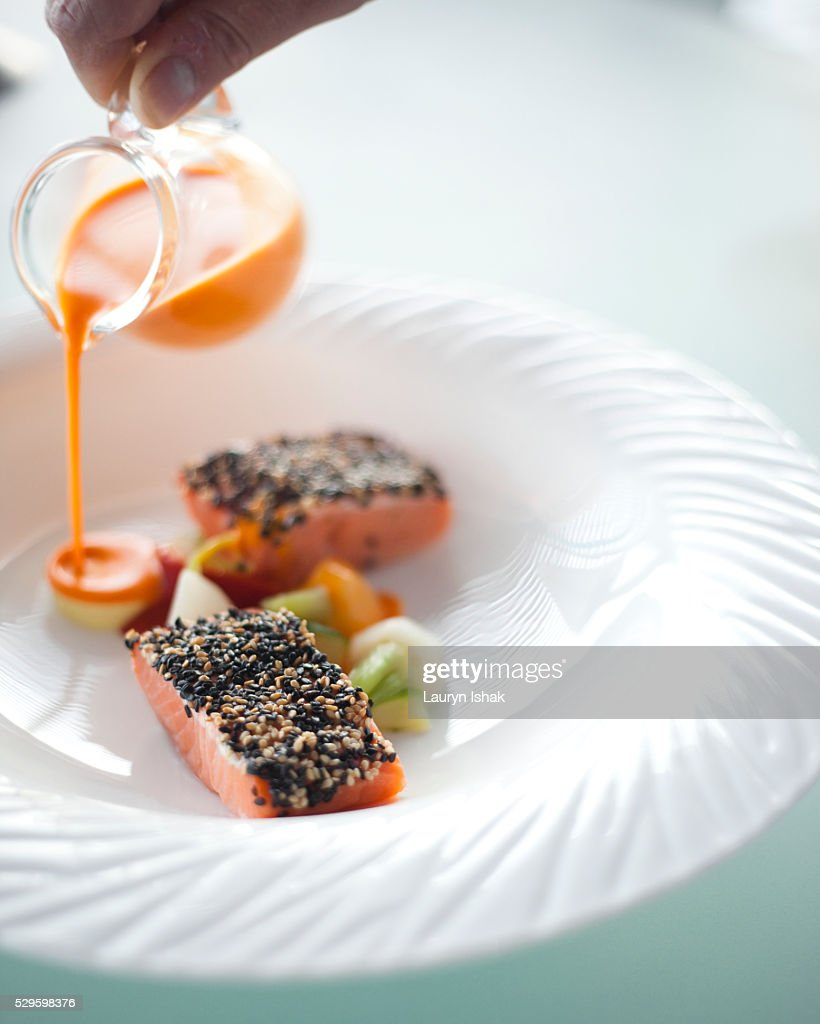 Salmon, Felix Restaurant, Hong Kong : Stock Photo