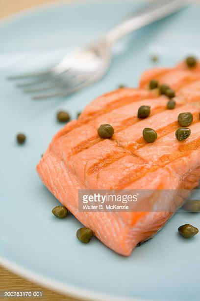 Salmon filet on plate