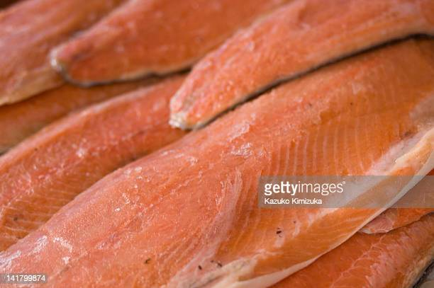 salmon filets - kazuko kimizuka stock pictures, royalty-free photos & images