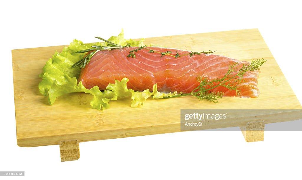 Filete de salmón decorado : Foto de stock
