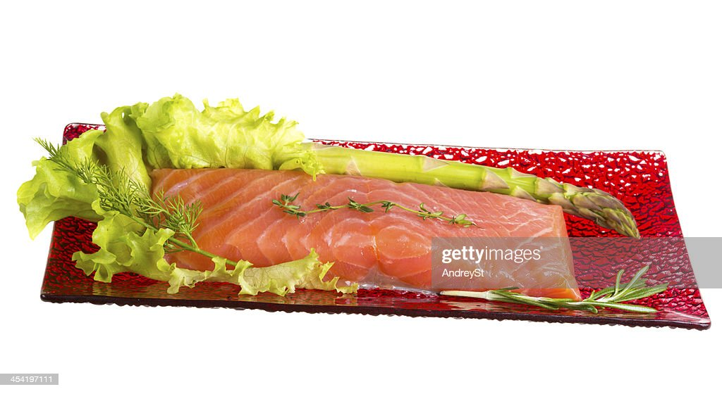 Salmon fillet garnished : Stock Photo