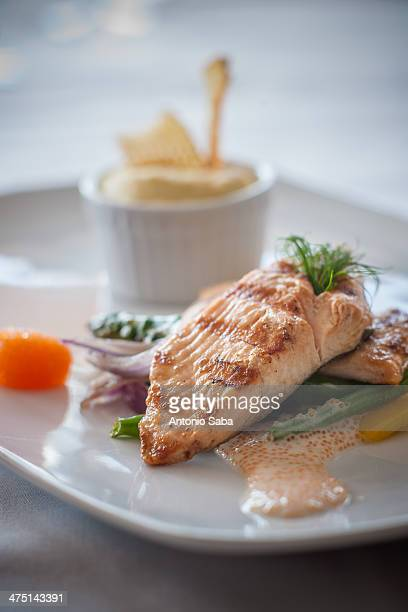 salmon fillet with sauce and garnish - swedish lapland stock photos and pictures