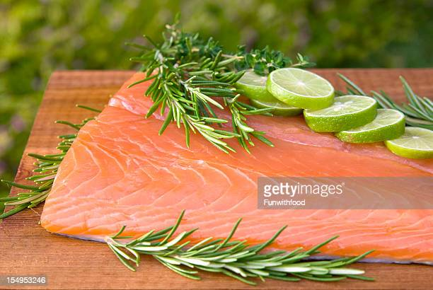salmon fish seafood fillet, healthy food cooking & cedar plank barbeque - chinook salmon stock photos and pictures