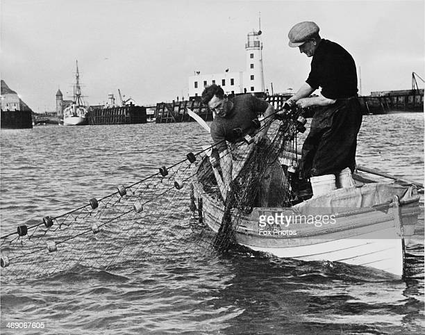 Salmon fishermen George Smalley and Robin Messruther hauling one of their nets into their boat Molly Scarborough North Yorkshire 31st July 1952...