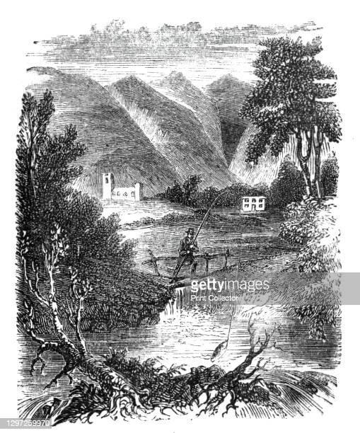 "Salmon fishing, Strand's Bridge, Vale of Rutland, 1842. From ""Illustrated London News"" Vol I. Artist Unknown."