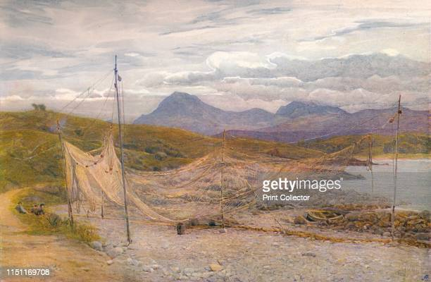 """Salmon Nets, Gairloch, Ross-Shire', 1860-1906, . Watercolour by Frank Walton . From """"The Royal Institute of Painters in Water Colours"""", edited by..."""