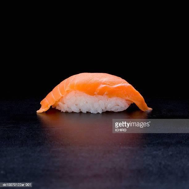 Salmon Nigiri Sushi on black background