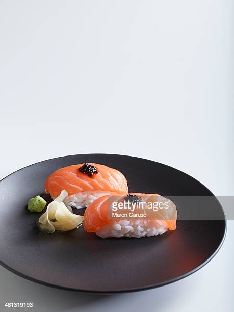 Salmon Nigiri Sushi with Wasabi and Pickled Ginger