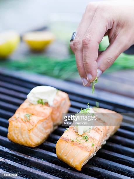 Salmon on a barbecue close-up Sweden.
