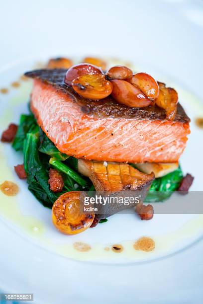 salmon - seared stock photos and pictures