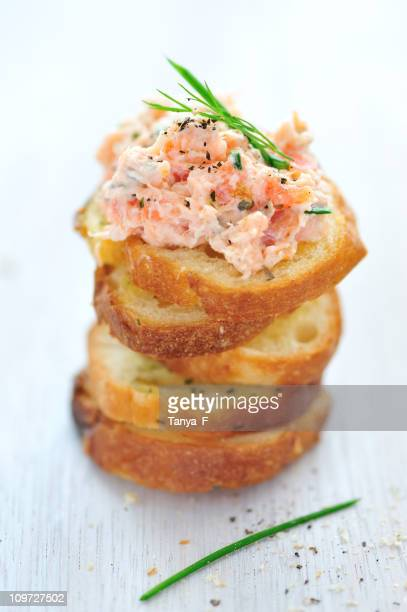 Salmon Rillette Appetizer, not plated on a white background