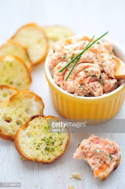 Salmon rillette appetizer served with bread