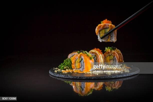 Salmon Roll topped caviar
