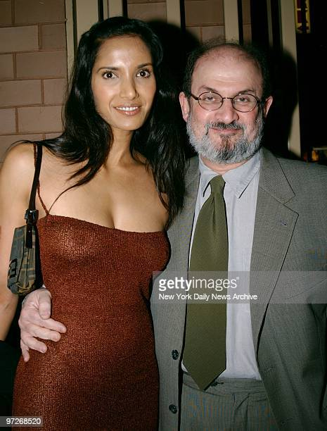 Salmon Rushdie and girlfriend Padma Lakshmi at the prescreening party for the movie The Lord of the Rings at the Royal Righa Hotel
