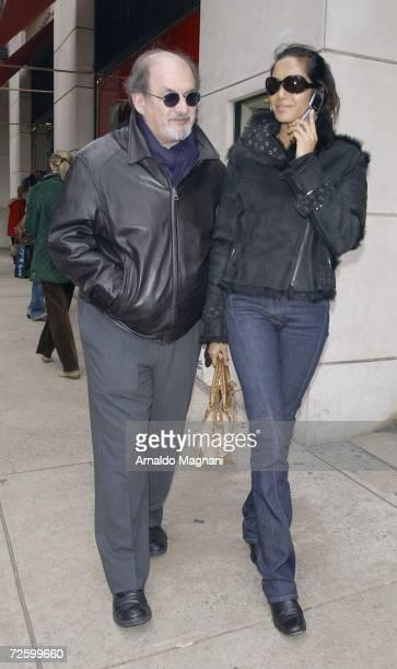 Salmon Rushdie and his girlfriend Padma Lakshmi walk down on Madison avenue November 18 2006 in New York City