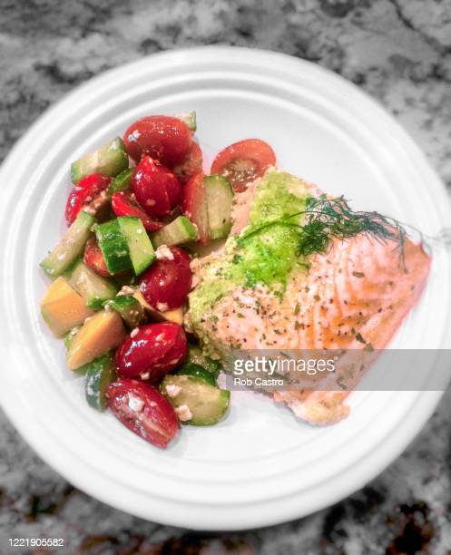 salmon salad - rob castro stock pictures, royalty-free photos & images