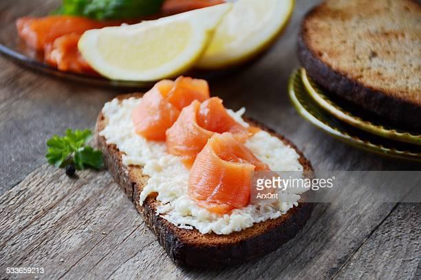 Salmon sandwich on rye bread