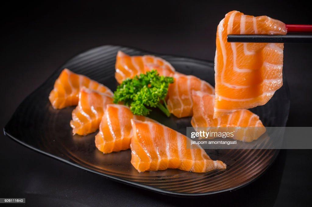 Salmon Sashimi, Japanese food Menu : Foto de stock