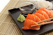 Salmon sashimi on the plate