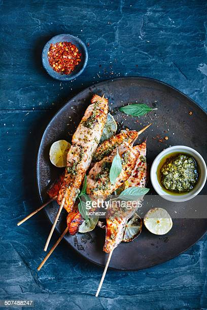 salmon satay - thai food stock pictures, royalty-free photos & images