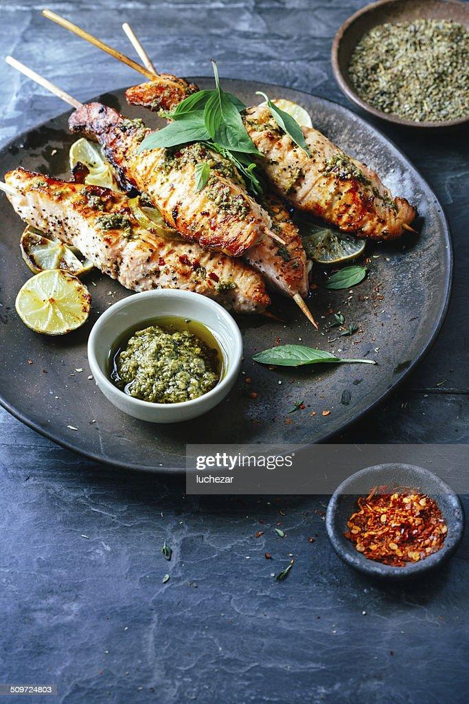 Salmon satay : Stock Photo