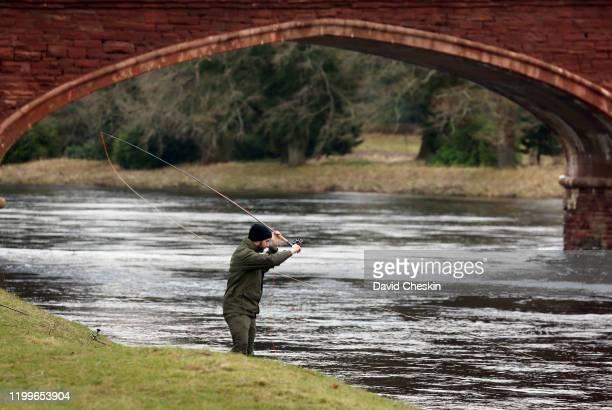 Salmon season opens as fishing starts near Kinclaven bridge on January 15 2020 in Perth Scotland The Salmon Fishing Season on Scotland's River Tay...