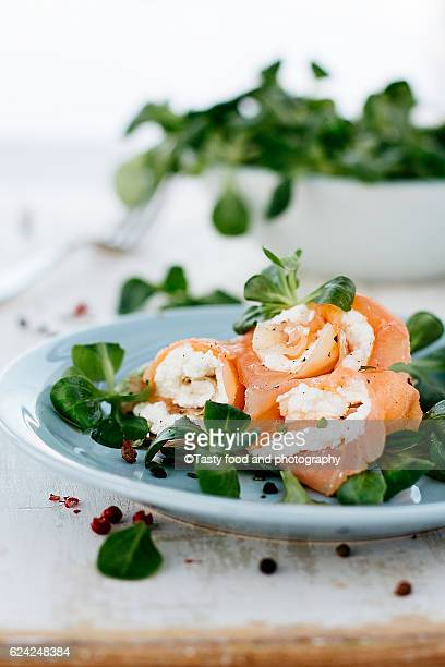 salmon, spicy ricotta and corn salad - food journal imagens e fotografias de stock
