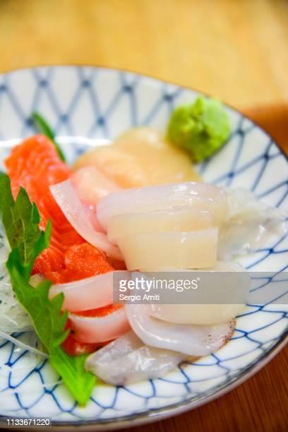Salmon, squid and scallop sashimi