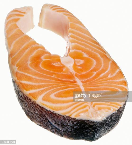 salmon steak cut out on white