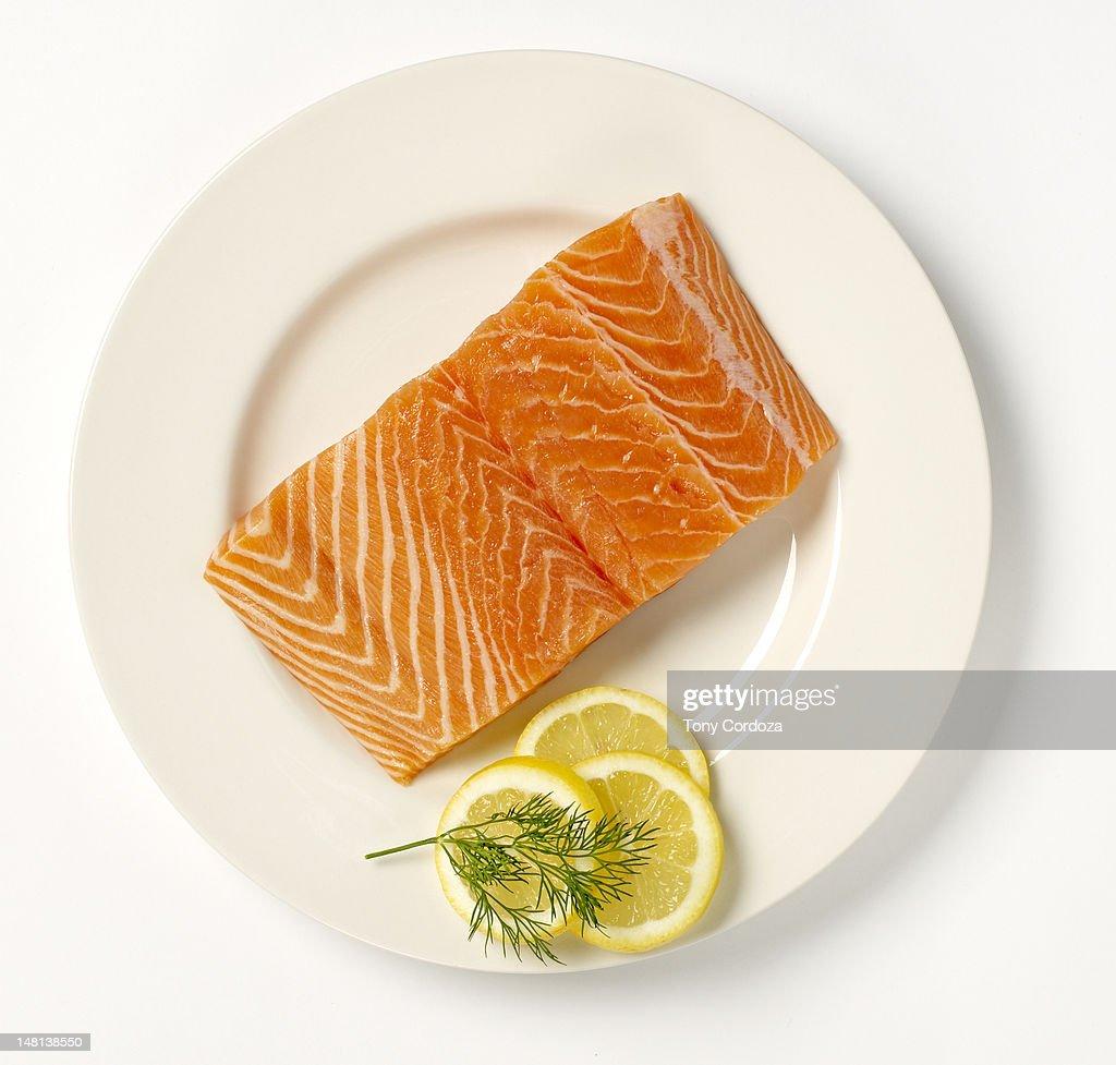 Salmon steak on a plate : Stock Photo