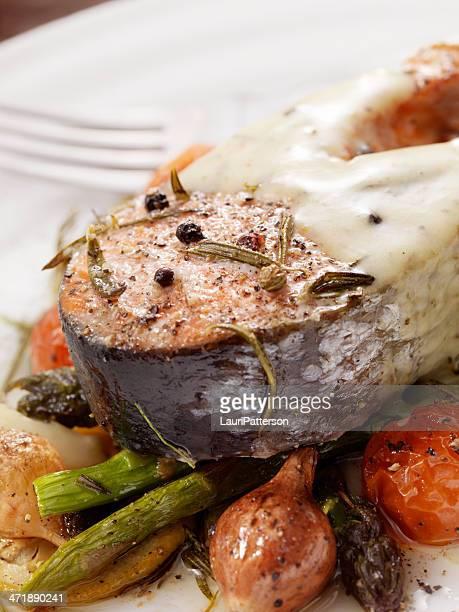 Salmon Steak on Roasted Vegetables