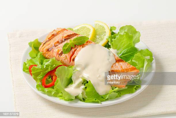 salmon steak with salad - mayonnaise stock pictures, royalty-free photos & images