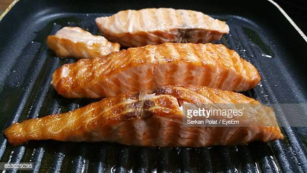 Salmon Steaks On Barbecue