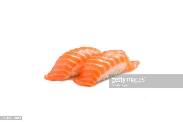 salmon sushi - nigiri stock pictures, royalty-free photos & images