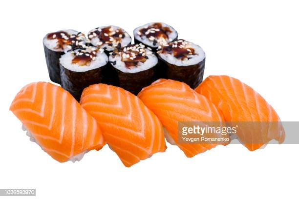 salmon sushi rolls set isolated on white background - nigiri stock pictures, royalty-free photos & images