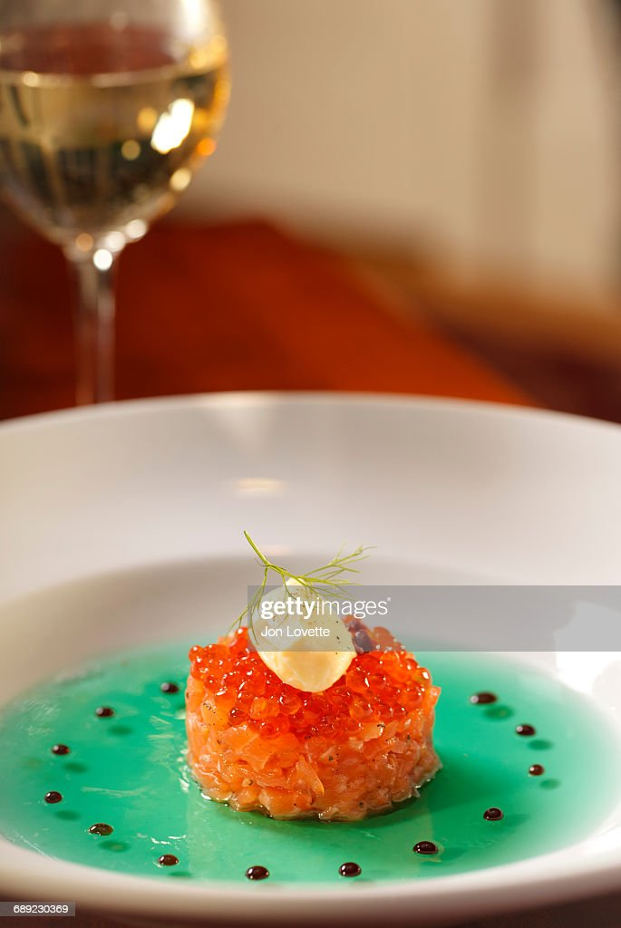 Salmon Tartar with Roe in restaurant : Stock Photo