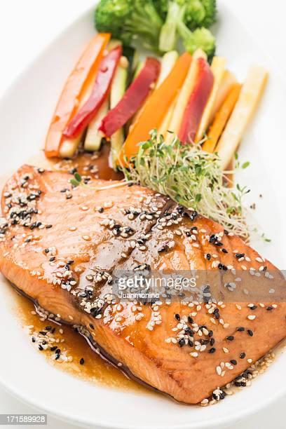 salmon teriyaki - seared stock photos and pictures
