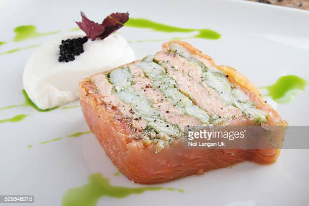 salmon terrine - smoked food fotografías e imágenes de stock