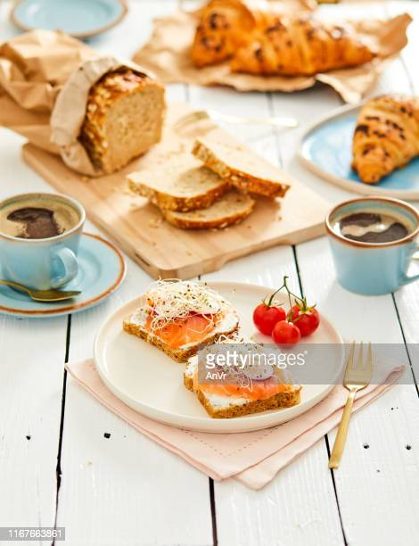 salmon toast snack - course meal stock pictures, royalty-free photos & images
