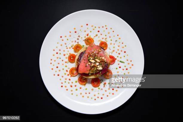 salmon turnip and beet millefeuille - gourmet stock pictures, royalty-free photos & images