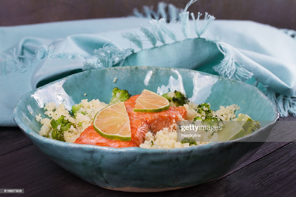 Salmon with Cous Cous, Broccoli and Lime : Stock Photo