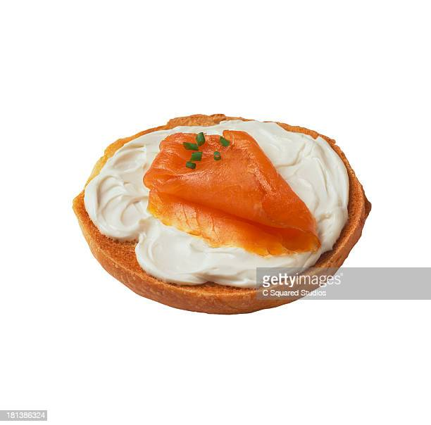 Salmon with cream cheese on bagel