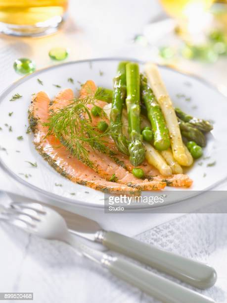 Salmon with dill, green and white asparagus