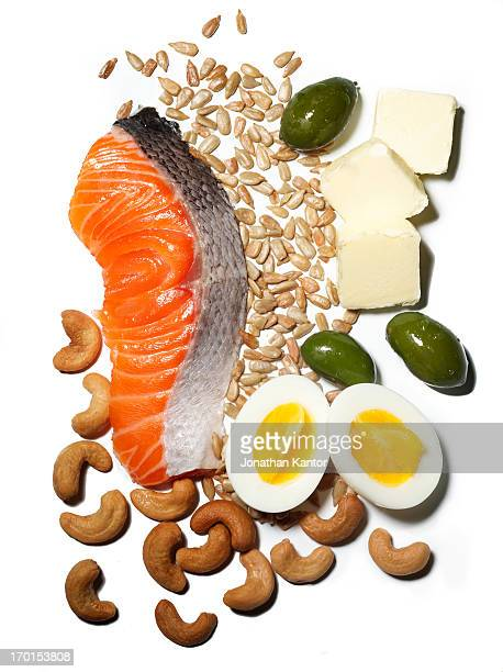 Salmon with Eggs, Cashews, Sunflower Seeds, Olives