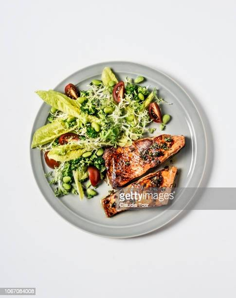 salmon with fresh salad - seared stock photos and pictures