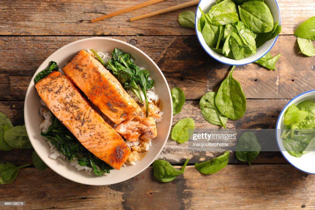 salmon with spinach and rice : Stock Photo