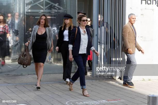 Salome Stevenin guest Emmanuelle Devos and Sami Bouajila attends the shooting of French short blackandwhite silent documentary film 'La Sortie de...