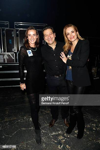 Salome Stevenin Laurent Gerra and Christelle Bardet attend in Backstage the Laurent Gerra Show at Palais des Sports on December 27 2014 in Paris...