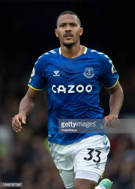 Salomón Rondón of Everton in action during the Premier League match between Everton and Watford at Goodison Park on October 23, 2021 in Liverpool,...